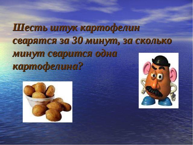 Шесть штук картофелин сварятся за 30 минут, за сколько минут сварится одна к...