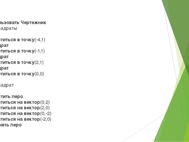 использовать Чертежник алгквадраты нач .сместиться в точку(-4,1) .квадрат...