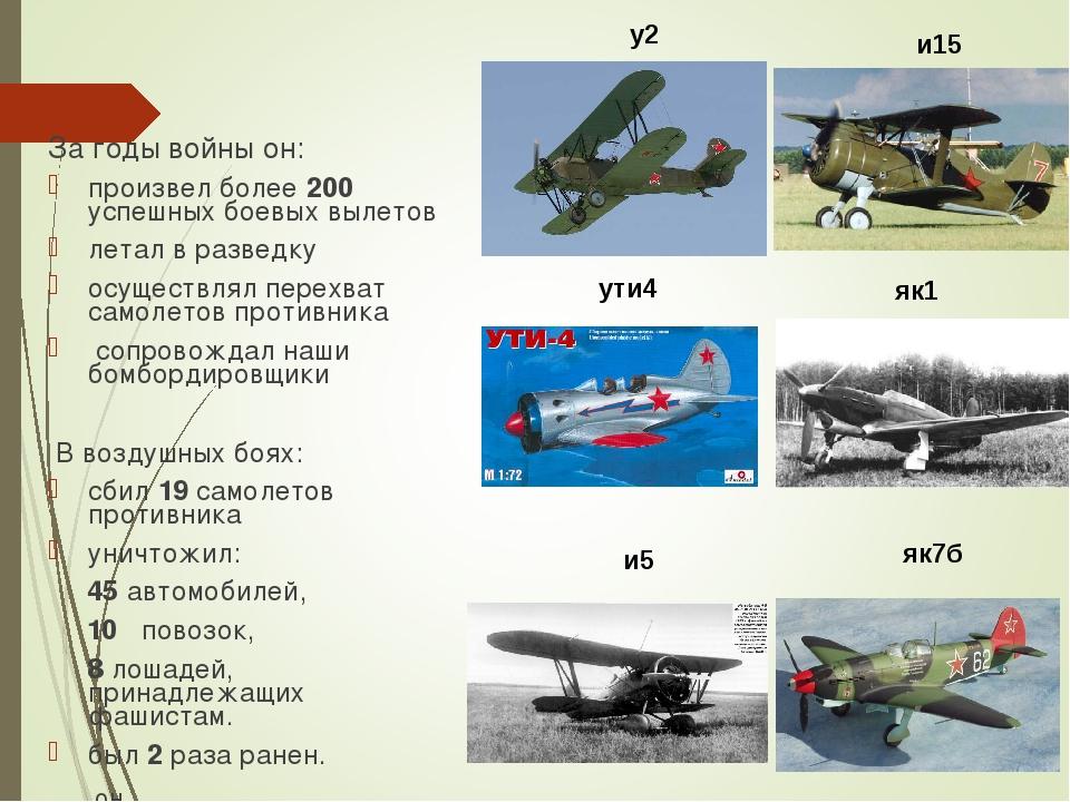 За годы войны он: произвел более 200 успешных боевых вылетов летал в разведку...
