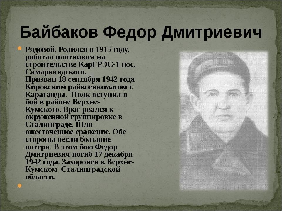 Байбаков Федор Дмитриевич Рядовой. Родился в 1915 году, работал плотником на...