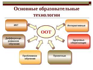 Основные образовательные технологии ООТ Дифференци- рованное обучение ИКТ Про