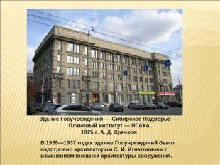 Здание Госучреждений — Сибирское Подворье — Плановый институт — НГАХА 1925 г.