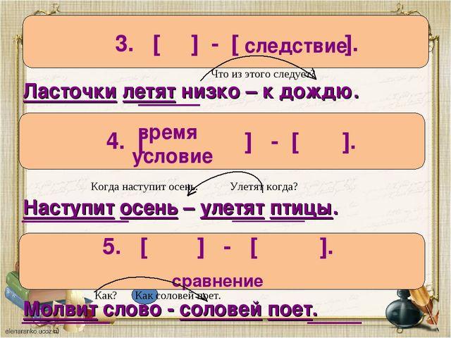 3. [ ] - [ ]. следствие Ласточки летят низко – к дождю. 4. [ ] - [ ]. время у...