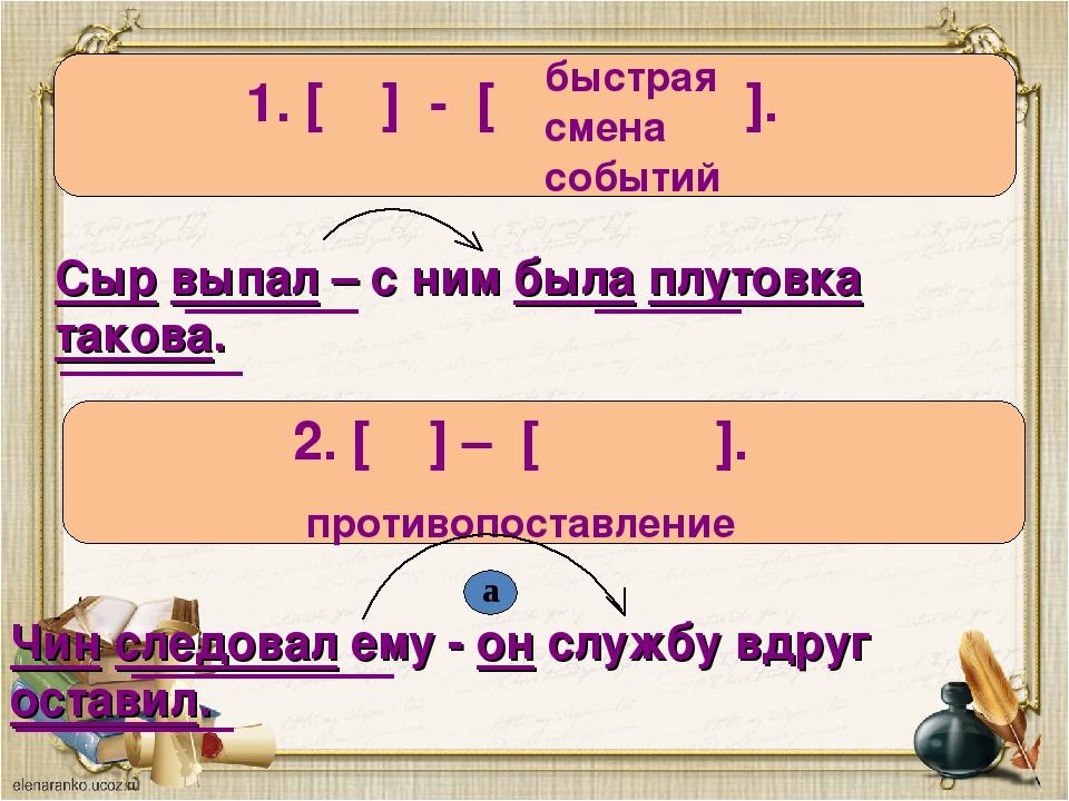 1. [ ] - [ ]. 2. [ ] – [ ]. противопоставление быстрая смена событий Сыр выпа...