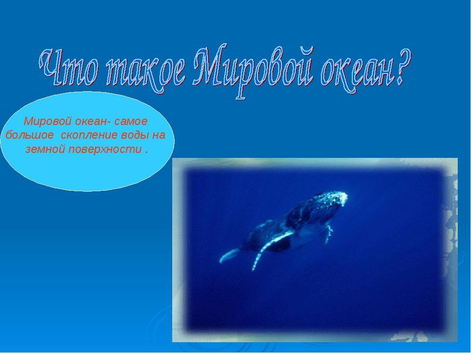 Мировой океан- самое большое скопление воды на земной поверхности .
