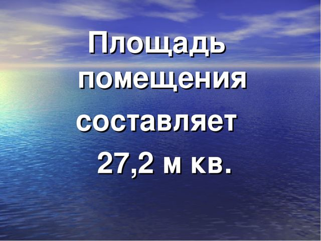 Площадь помещения составляет 27,2 м кв.