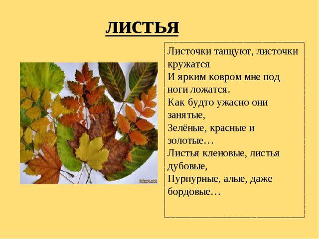 листья Листочки танцуют, листочки кружатся И ярким ковром мне под ноги ложатс...