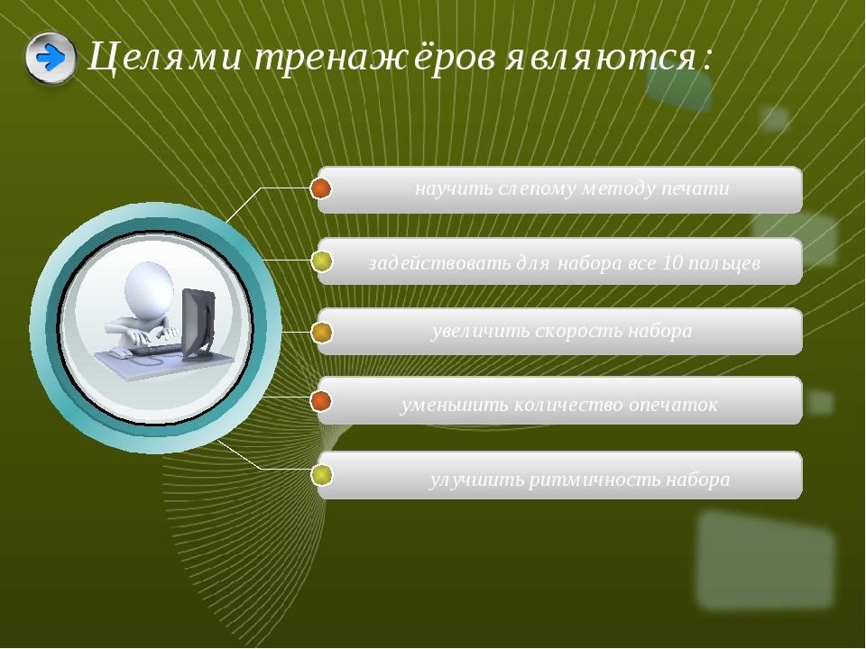 Целями тренажёров являются: научитьслепому методу печати задействовать для н...