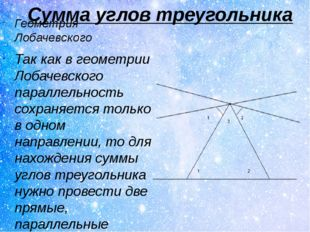 Сумма углов треугольника Геометрия Лобачевского Так как в геометрии Лобачевск