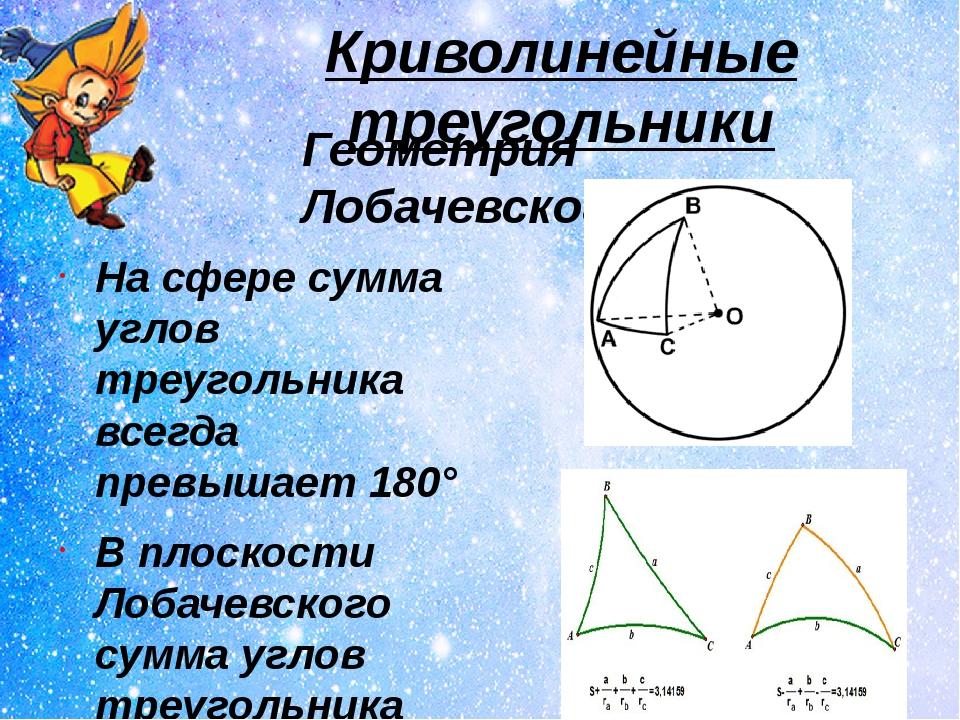 Криволинейные треугольники На сфере сумма углов треугольника всегда превышает...