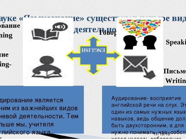 В науке «Языкознание» существуют четыре вида речевой деятельности: Аудирован...