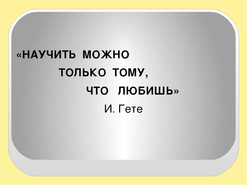 «НАУЧИТЬ МОЖНО ТОЛЬКО ТОМУ, ЧТО ЛЮБИШЬ» И. Гете