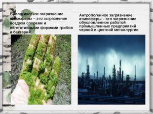 Биологическое загрязнение атмосферы – это загрязнение воздуха спорами и вегет