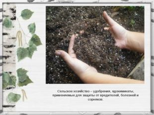 Сельское хозяйство – удобрения, ядохимикаты, применяемые для защиты от вредит