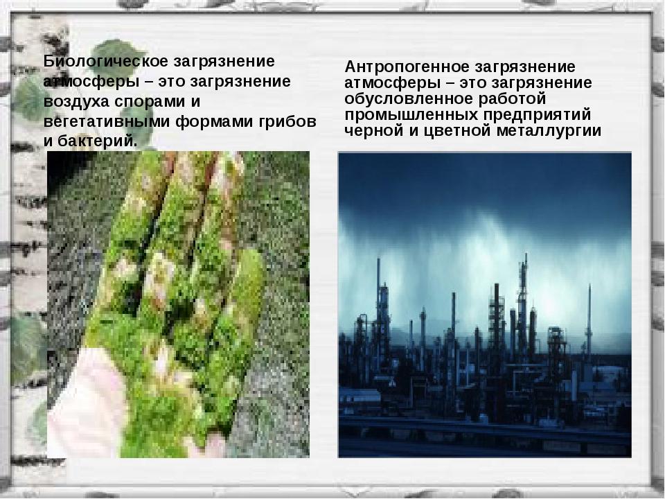 Биологическое загрязнение атмосферы – это загрязнение воздуха спорами и вегет...
