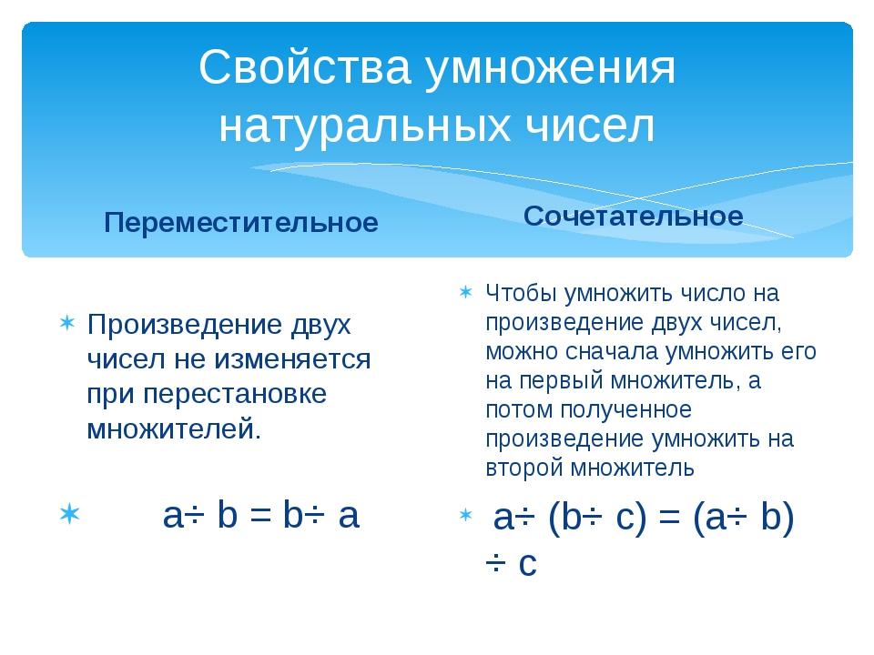 Свойства умножения натуральных чисел Переместительное Произведение двух чисел...