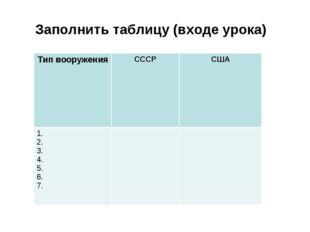 Заполнить таблицу (входе урока) Тип вооруженияСССРСША 1. 2. 3. 4. 5. 6. 7.