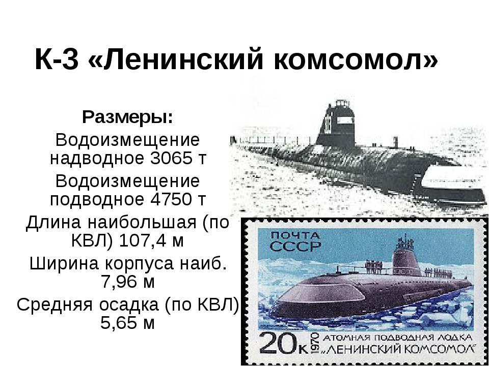 К-3 «Ленинский комсомол» Размеры: Водоизмещение надводное 3065 т Водоизмещени...