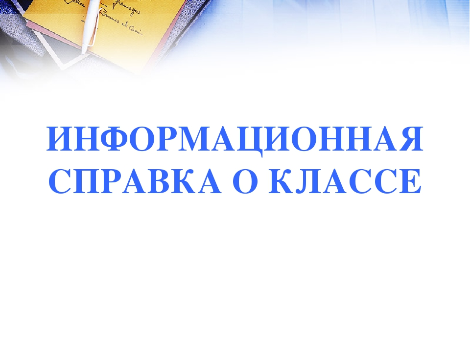 ИНФОРМАЦИОННАЯ СПРАВКА О КЛАССЕ