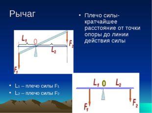 Рычаг L1 – плечо силы F1 L2 – плечо силы F2 Плечо силы- кратчайшее расстояние