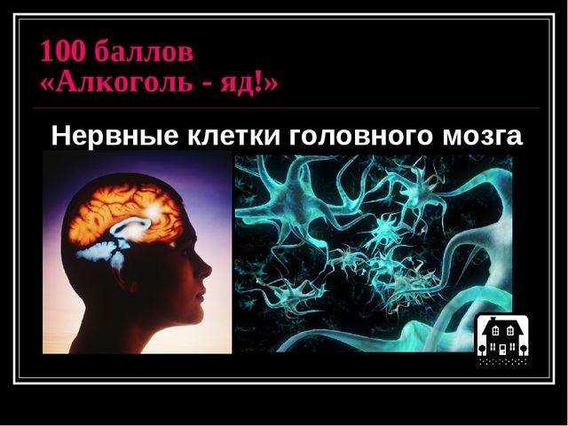 100 баллов «Алкоголь - яд!» Нервные клетки головного мозга
