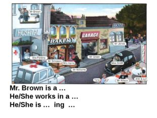 Mr. Brown is a … He/She works in a … He/She is … ing …