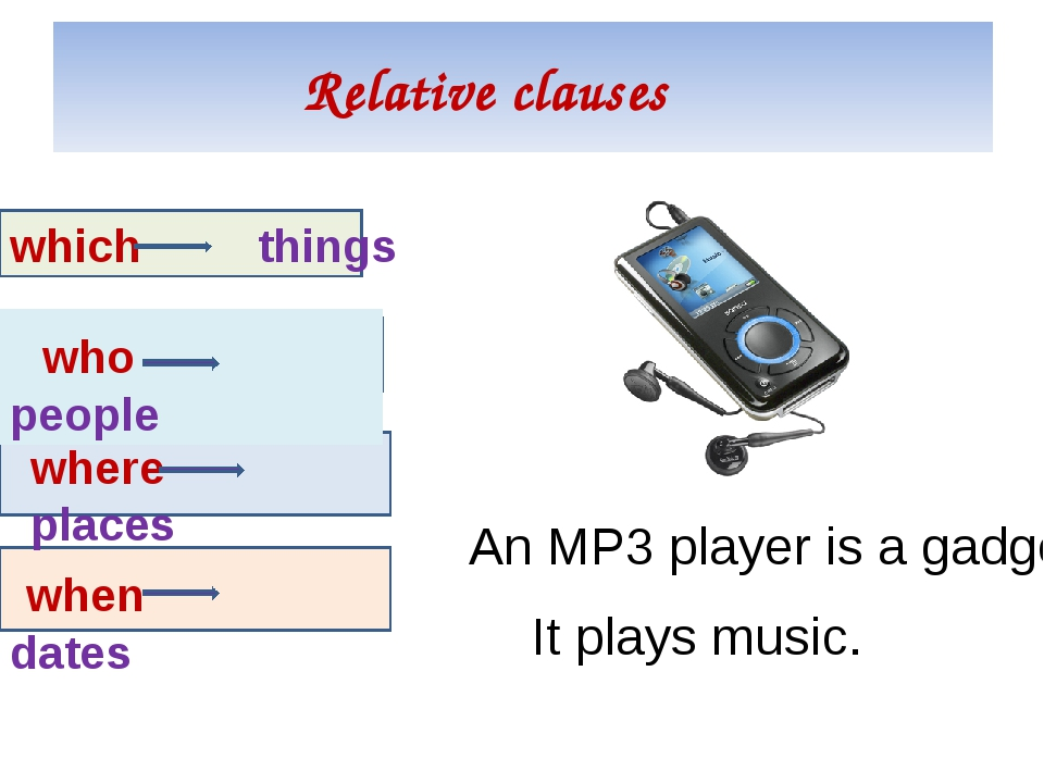 Relative clauses which things who people where places when dates An MP3 playe...
