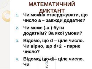 МАТЕМАТИЧНИЙ ДИКТАНТ Чи можна стверджувати, що число а – завжди додатнє? Чи м