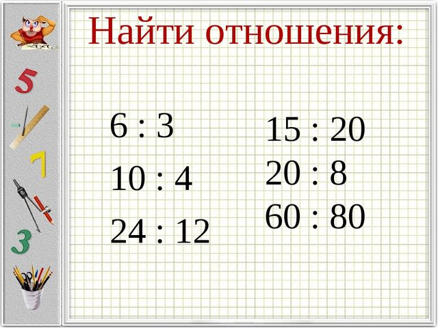 Найти отношения: 6 : 3 10 : 4 24 : 12 15 : 20 20 : 8 60 : 80