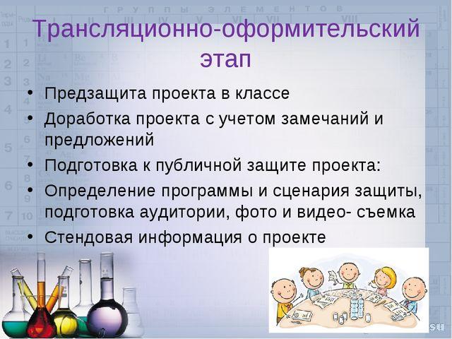 Трансляционно-оформительский этап Предзащита проекта в классе Доработка проек...