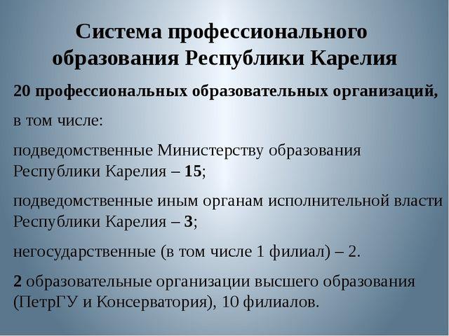 Система профессионального образования Республики Карелия 20 профессиональных...