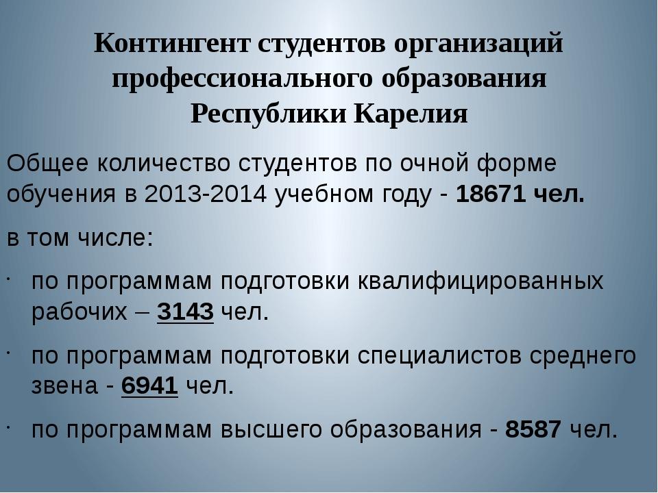 Контингент студентов организаций профессионального образования Республики Кар...