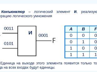 Конъюнктор – логический элемент И, реализующий операцию логического умножения