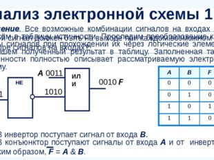 Решение. Все возможные комбинации сигналов на входах А и В внесём в таблицу и