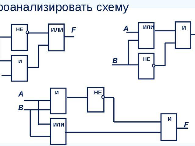 Проанализировать схему В ИЛИ F А НЕ И В И F А ИЛИ НЕ В НЕ А И ИЛИ И F