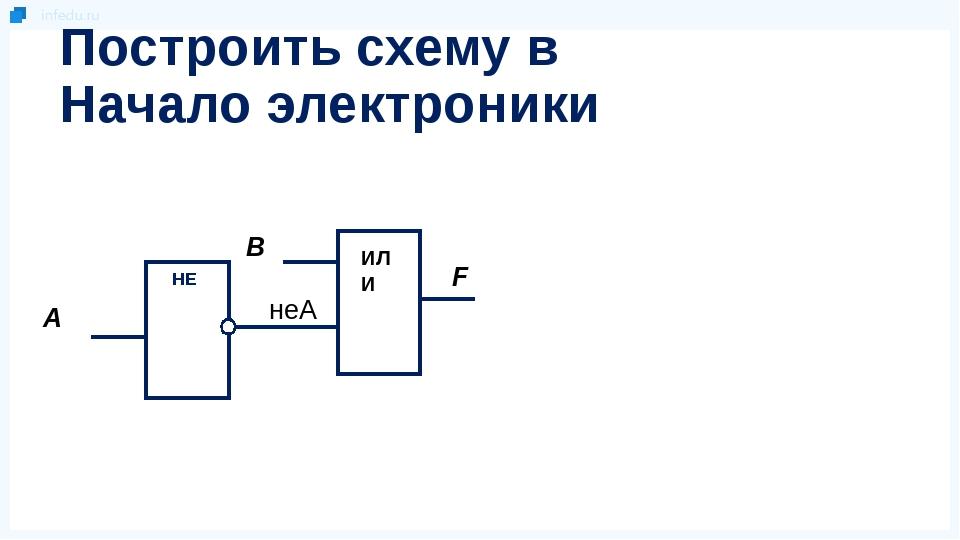 Построить схему в Начало электроники НЕ В А