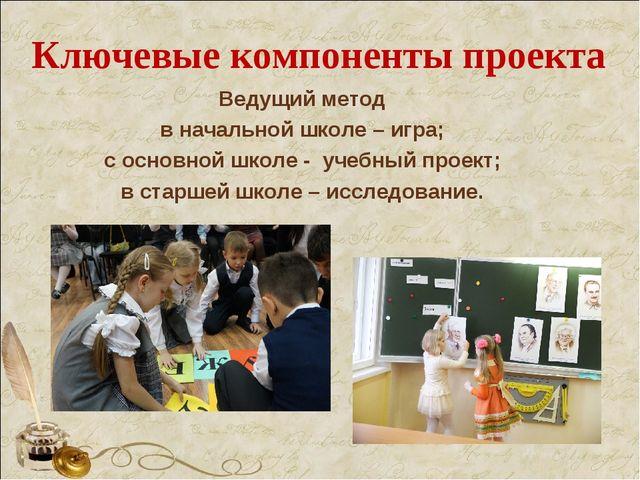 Ключевые компоненты проекта Ведущий метод в начальной школе – игра; с основно...