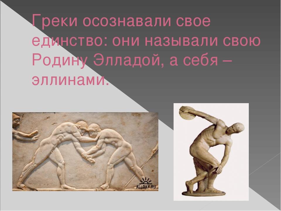Греки осознавали свое единство: они называли свою Родину Элладой, а себя –элл...