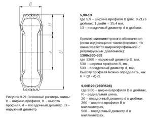 Рисунок 9.21 Основные размеры шины: В – ширина профиля, Н – высота профиля, d