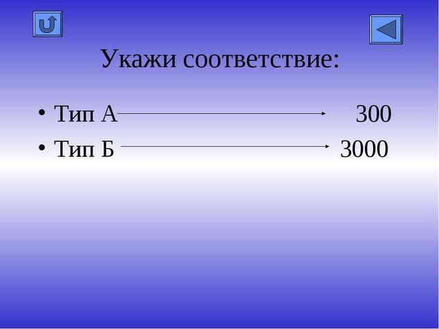 Укажи соответствие: Тип А 300 Тип Б 3000