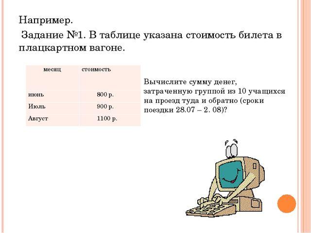 Например. Задание №1. В таблице указана стоимость билета в плацкартном вагоне...