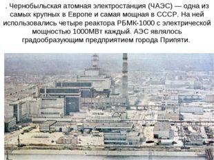 . Чернобыльская атомная электростанция (ЧАЭС) — одна из самых крупных в Европ