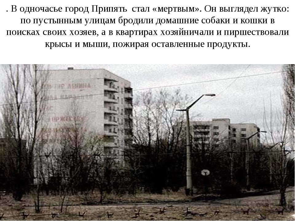 . В одночасье город Припять стал «мертвым». Он выглядел жутко: по пустынным у...