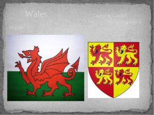 Wales Capital is Cardiff Official language is English