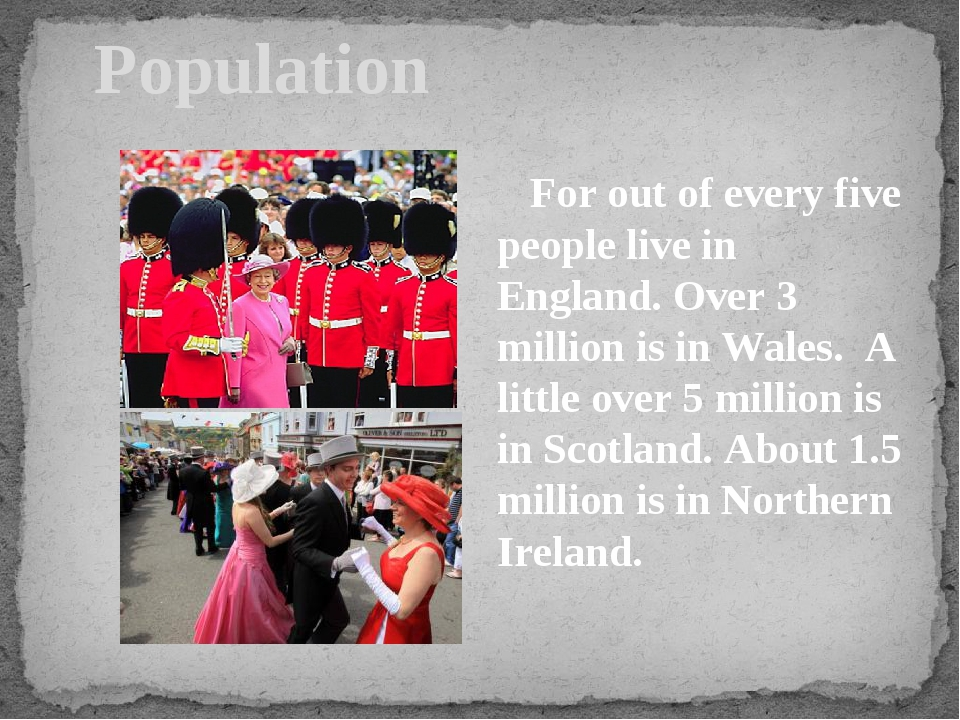 Population For out of every five people live in England. Over 3 million is i...