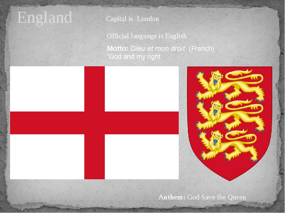 England Capital is London Official language is English Motto:Dieu et mon dro...