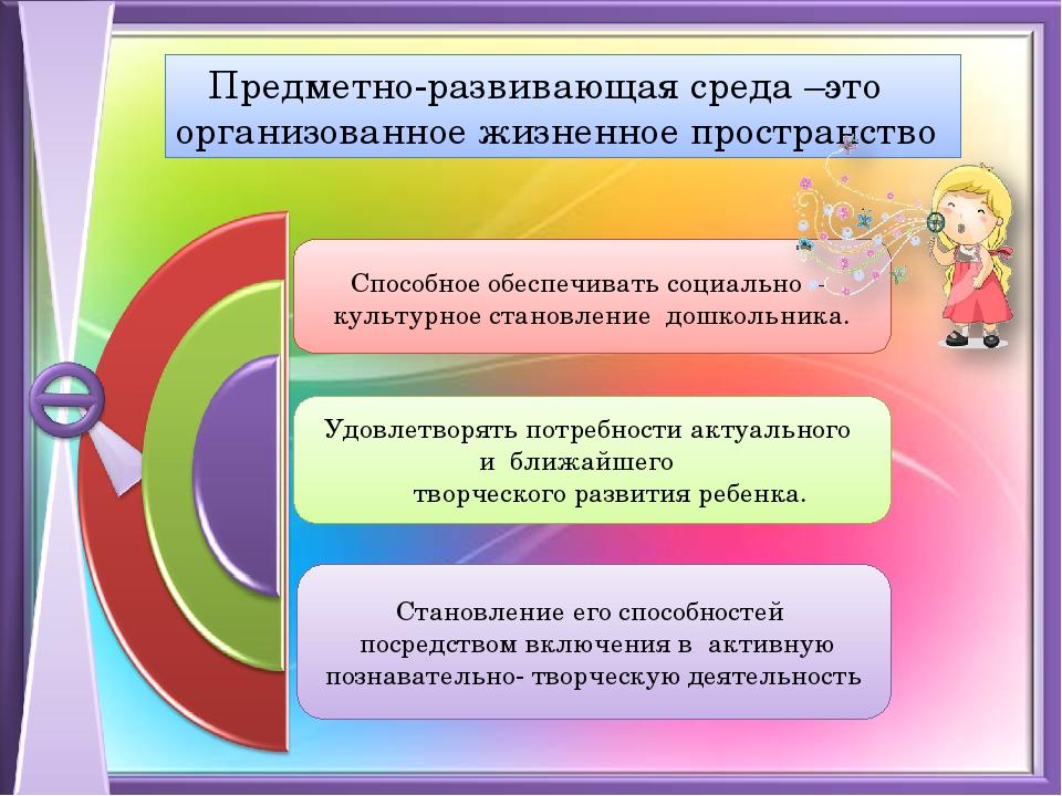 Предметно-развивающая среда –это организованное жизненное пространство Спосо...