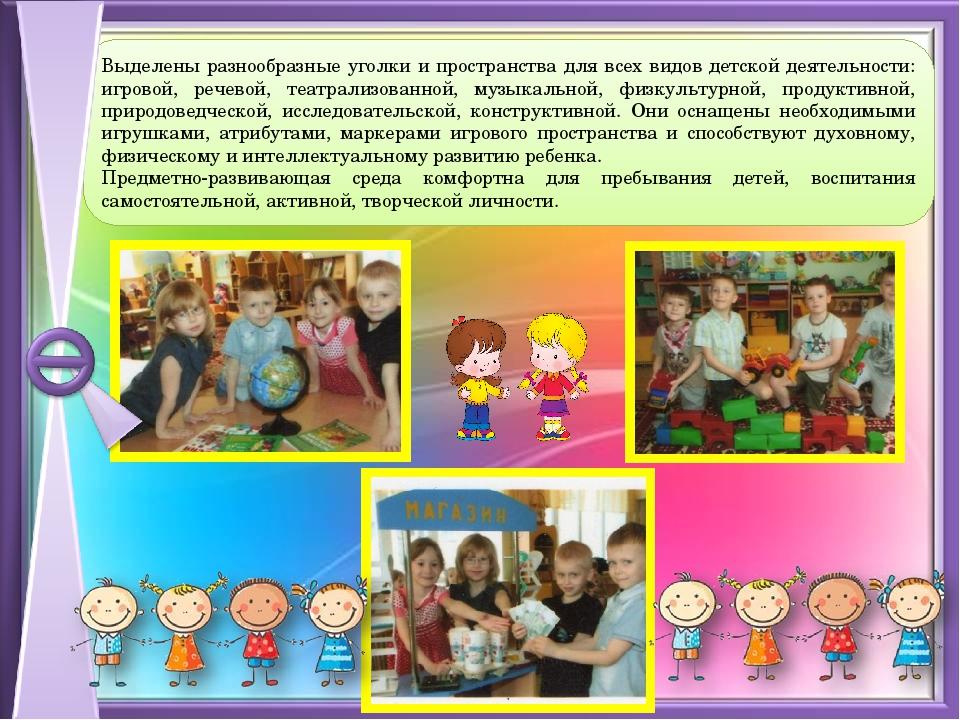 Выделены разнообразные уголки и пространства для всех видов детской деятельно...