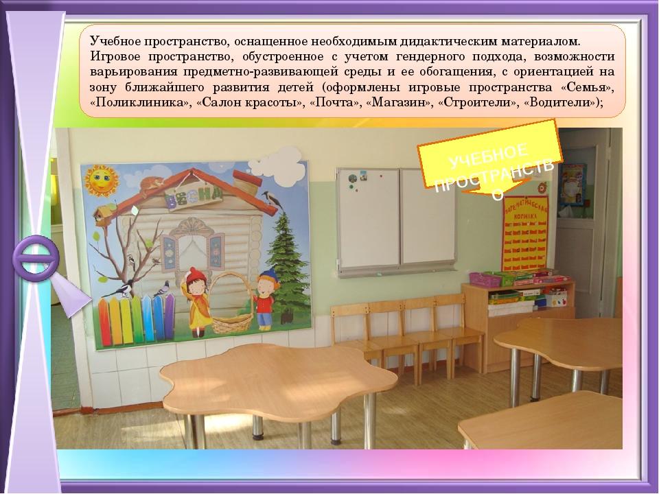 Учебное пространство, оснащенное необходимым дидактическим материалом. Игров...