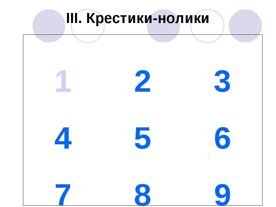 III. Крестики-нолики 123 456 789